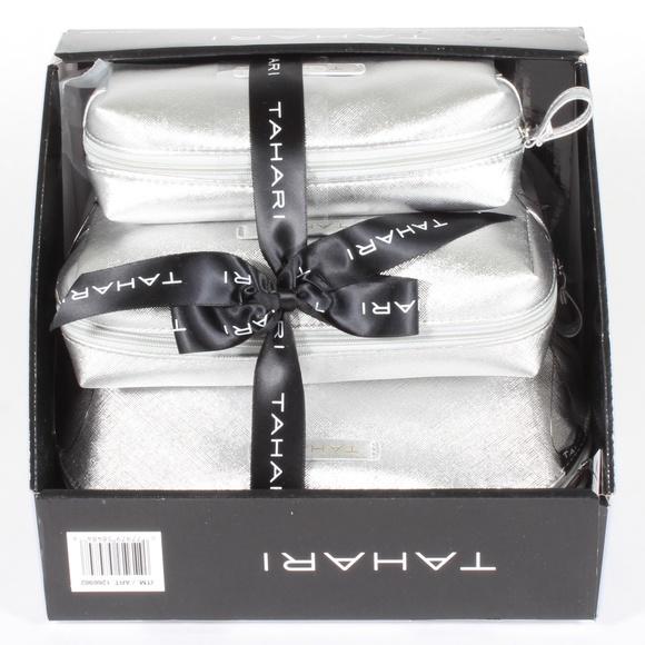 Tahari Handbags - Tahari 3-Piece Cosmetic Makeup Bag Set Silver NEW